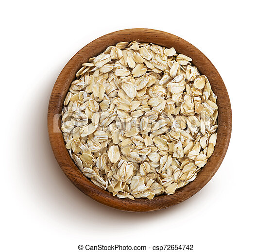 Oat flakes isolated on white background, top view - csp72654742