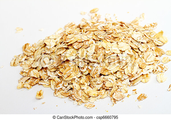 Oat flakes on white background - csp6660795