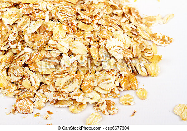 Oat flakes on white background - csp6677304
