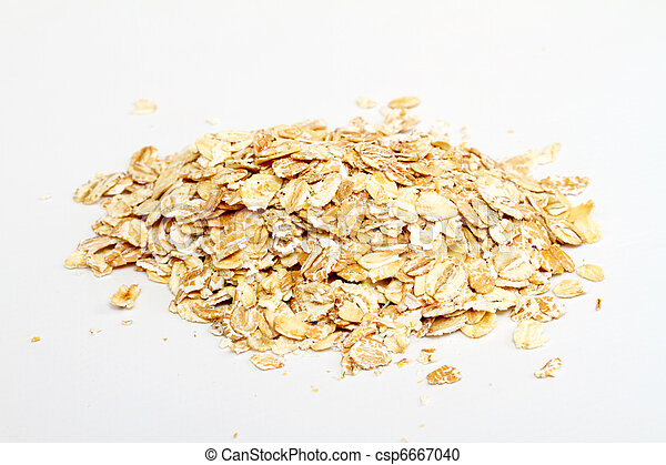 Oat flakes on white background - csp6667040