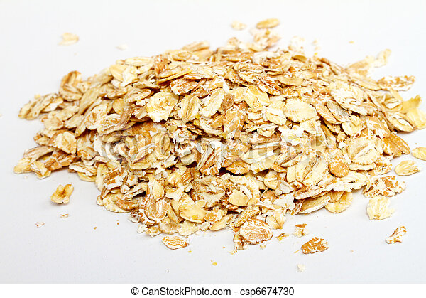 Oat flakes on white background - csp6674730