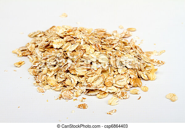 Oat flakes on white background - csp6864403