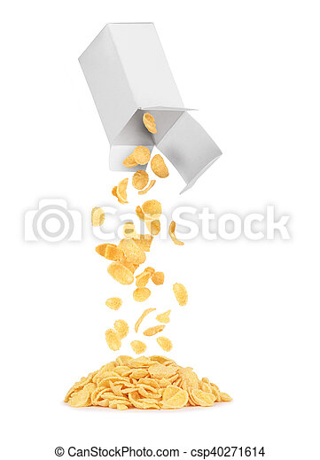 oat flakes out of the box on a white background - csp40271614