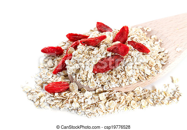 Oat flakes with goji berries on white background - csp19776528