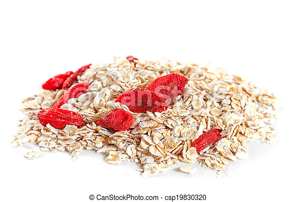 Oat flakes with goji berries on white background - csp19830320