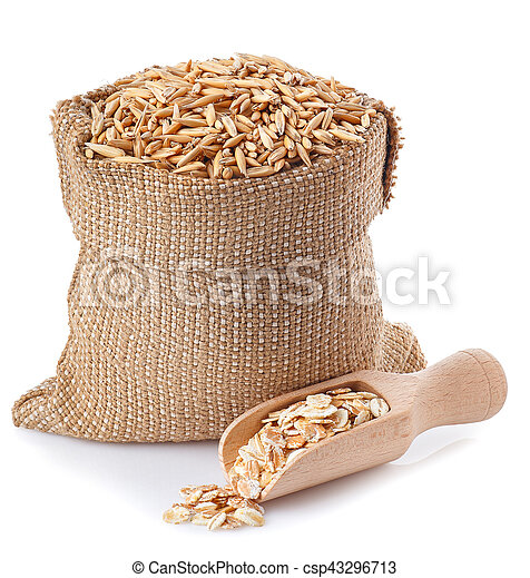 oat grains in bag and oat flakes in wooden scoop - csp43296713