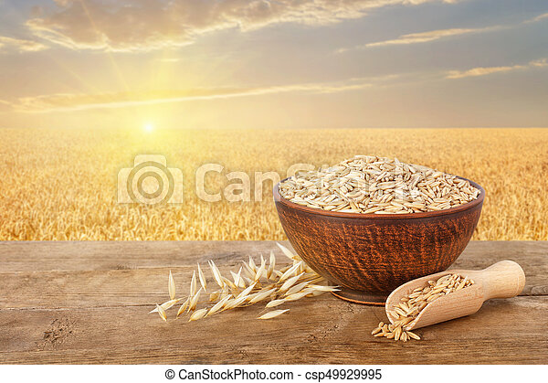 oat grains in bowl on table - csp49929995