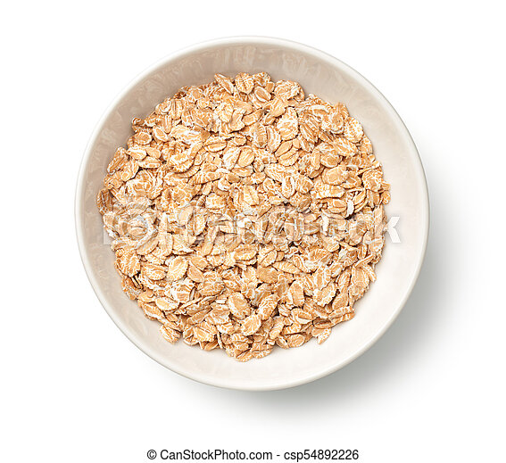 Oat Rye Flakes in Bowl Isolated on White Background - csp54892226