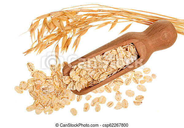 oat spike with oat flakes in wooden scoop isolated on white background. Top view - csp62267800