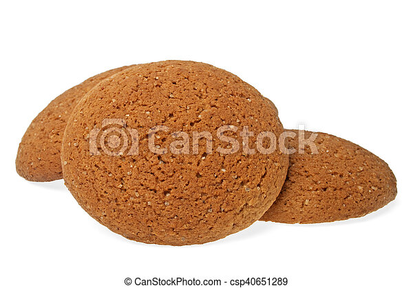 Oatmeal cookies on a white background - csp40651289