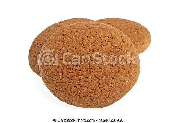 Oatmeal cookies on a white background - csp40650950
