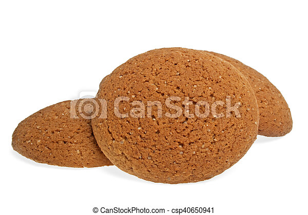 Oatmeal cookies on a white background - csp40650941