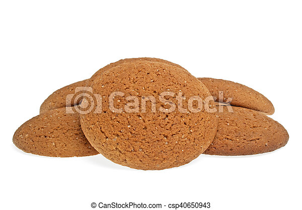 Oatmeal cookies on a white background - csp40650943