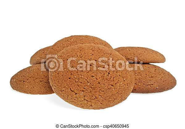 Oatmeal cookies on a white background - csp40650945