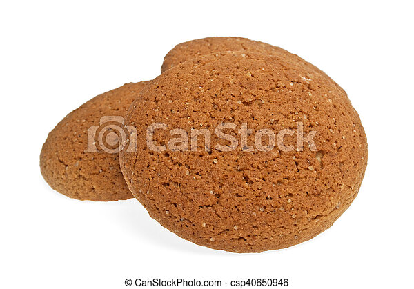 Oatmeal cookies on a white background - csp40650946