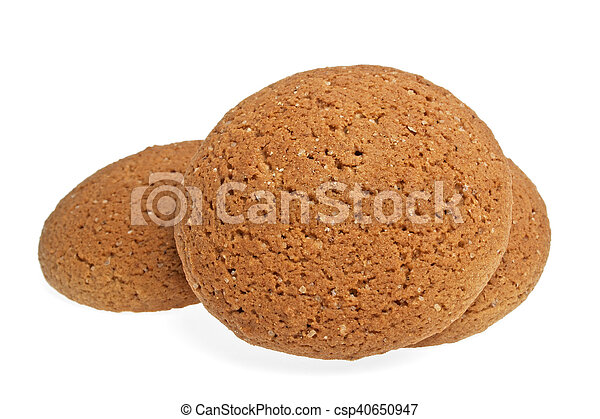 Oatmeal cookies on a white background - csp40650947