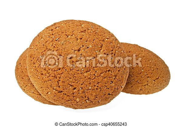 Oatmeal cookies on a white background - csp40655243