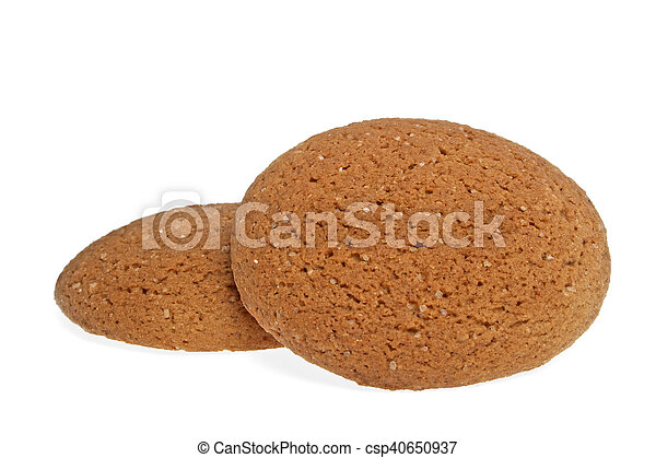 Oatmeal cookies on a white background - csp40650937