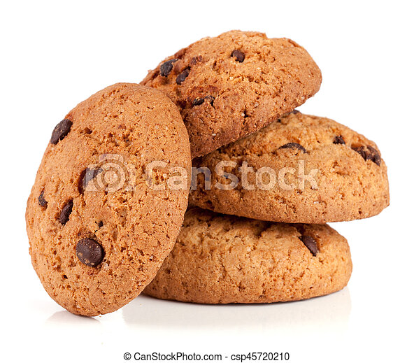 Oatmeal cookies with chocolate isolated on white background - csp45720210