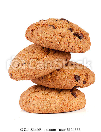 Oatmeal cookies with chocolate isolated on white background - csp46124885