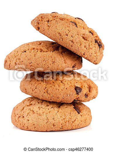 Oatmeal cookies with chocolate isolated on white background - csp46277400