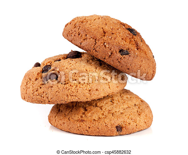 Oatmeal cookies with chocolate isolated on white background - csp45882632