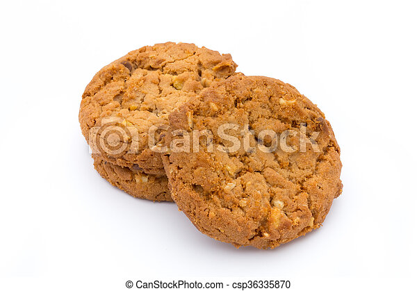 Oatmeal cookies with isolated background. - csp36335870