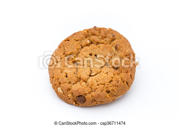 Oatmeal cookies with isolated background. - csp36711474