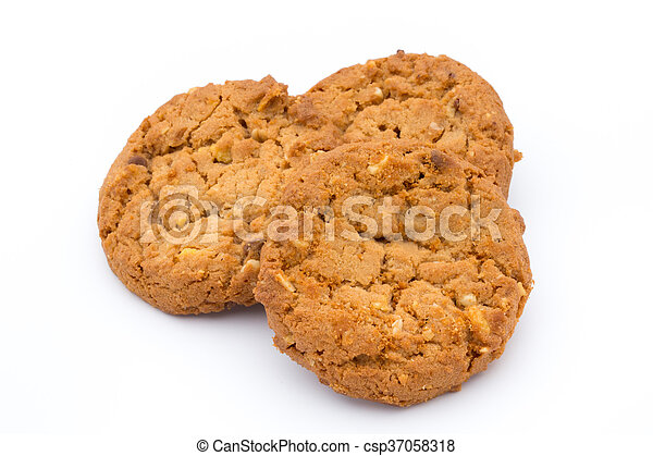 Oatmeal cookies with isolated background. - csp37058318