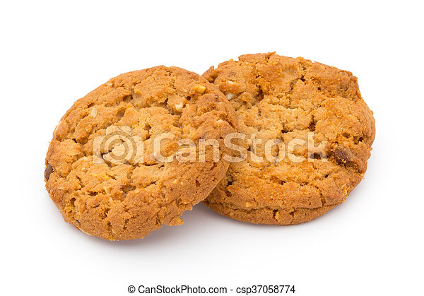 Oatmeal cookies with isolated background. - csp37058774