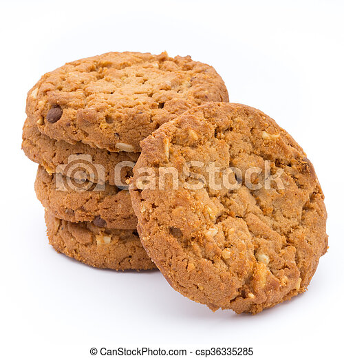 Oatmeal cookies with isolated background. - csp36335285