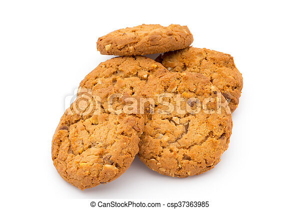 Oatmeal cookies with isolated background. - csp37363985