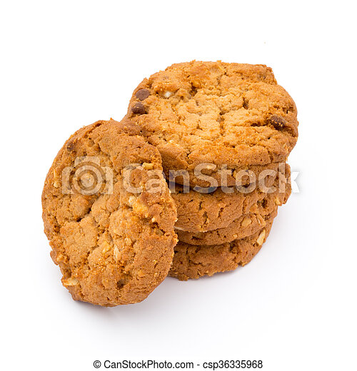 Oatmeal cookies with isolated background. - csp36335968
