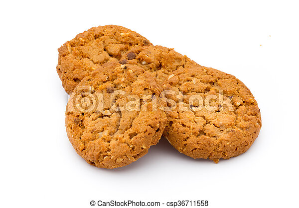 Oatmeal cookies with isolated background. - csp36711558