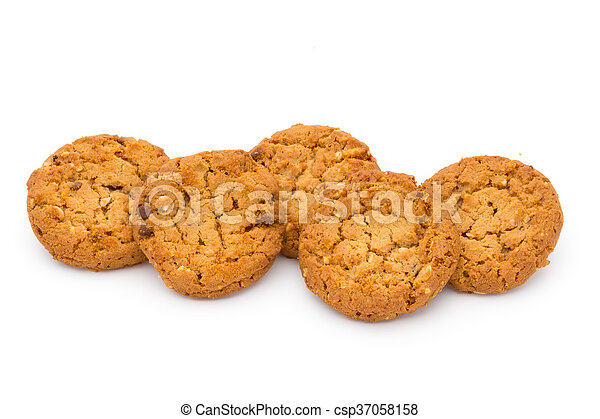Oatmeal cookies with isolated background. - csp37058158