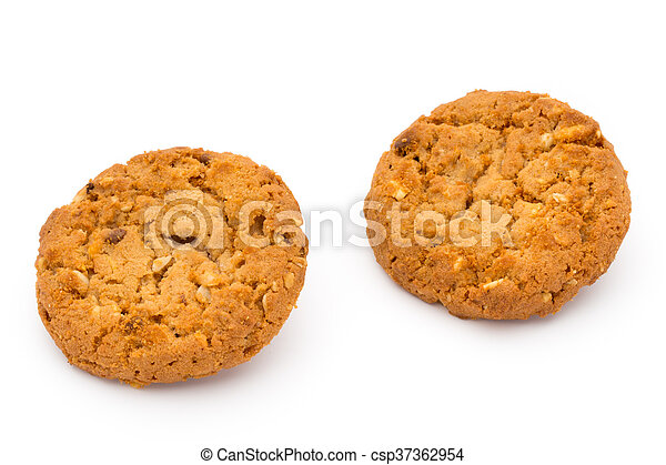Oatmeal cookies with isolated background. - csp37362954
