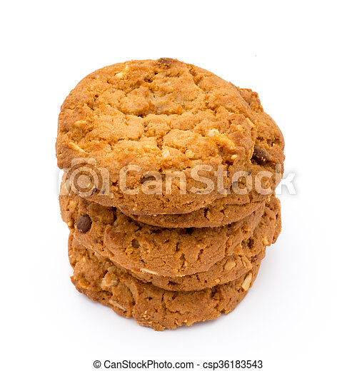 Oatmeal cookies with isolated background. - csp36183543