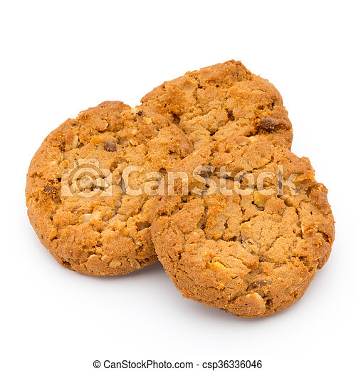 Oatmeal cookies with isolated background. - csp36336046