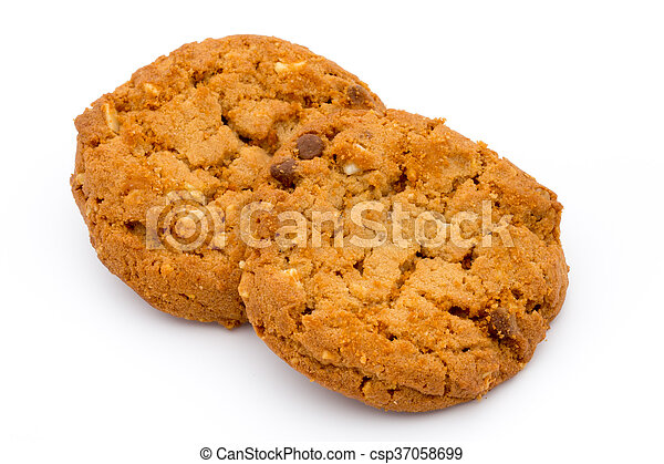 Oatmeal cookies with isolated background. - csp37058699
