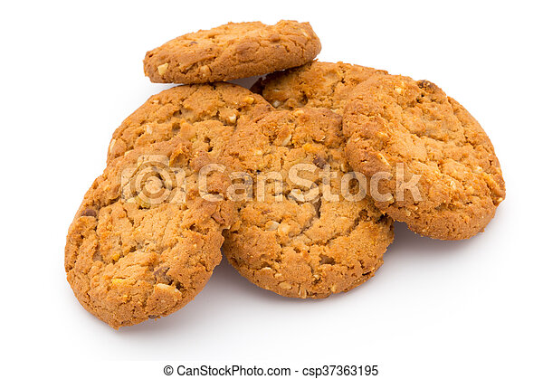 Oatmeal cookies with isolated background. - csp37363195