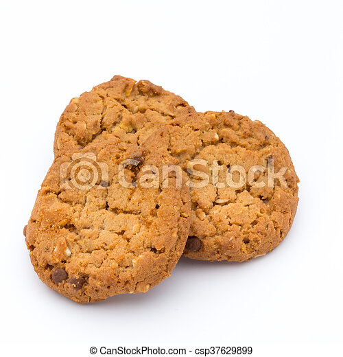 Oatmeal cookies with isolated background. - csp37629899