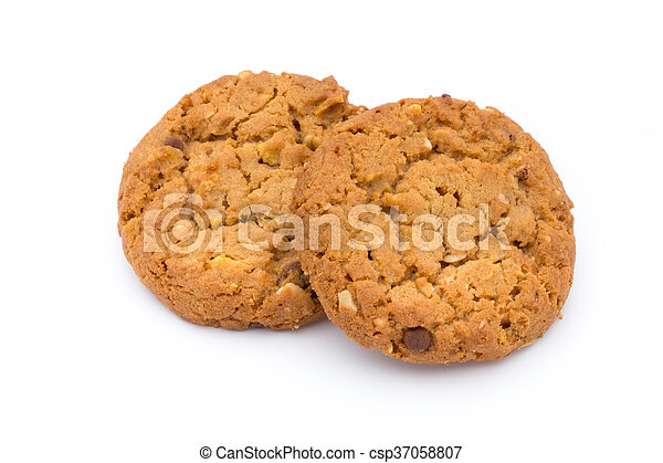 Oatmeal cookies with isolated background. - csp37058807