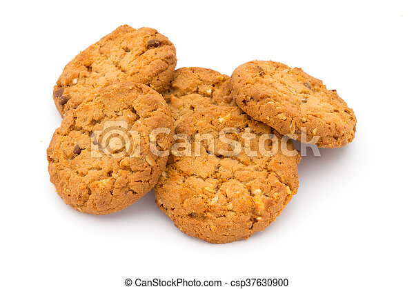 Oatmeal cookies with isolated background. - csp37630900