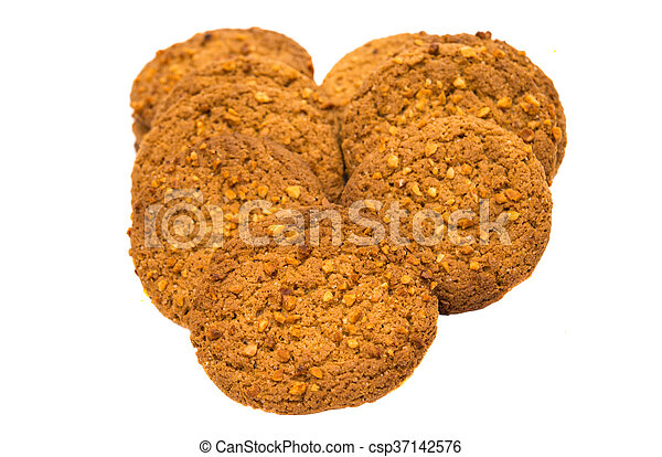 Oatmeal cookies with nuts isolated - csp37142576