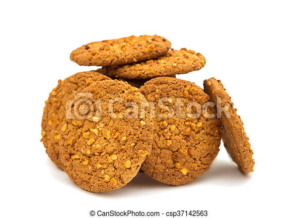 Oatmeal cookies with nuts isolated - csp37142563