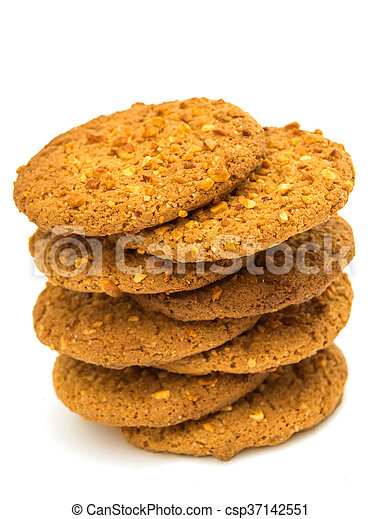 Oatmeal cookies with nuts isolated - csp37142551
