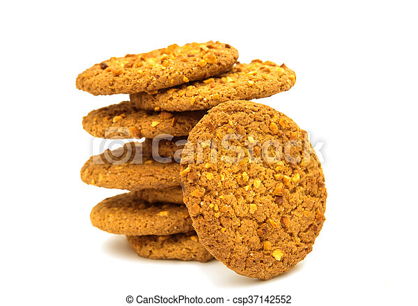 Oatmeal cookies with nuts isolated - csp37142552