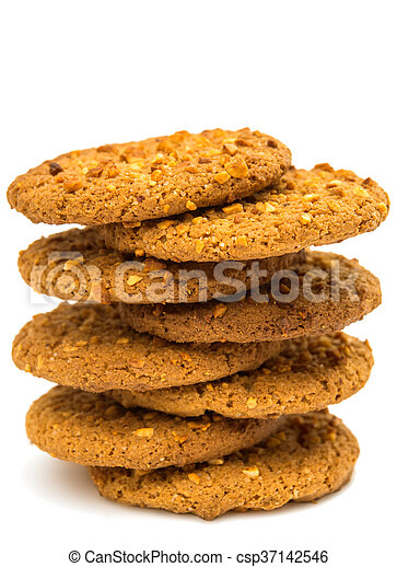 Oatmeal cookies with nuts isolated - csp37142546