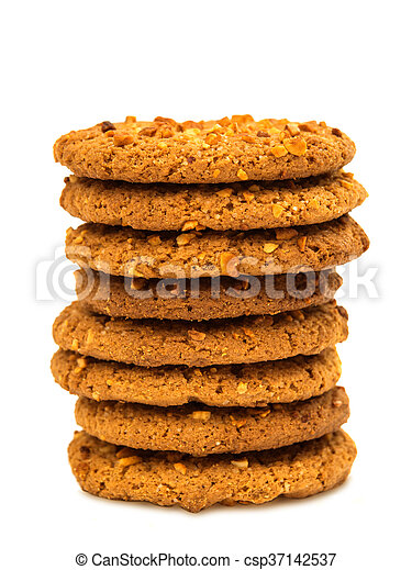 Oatmeal cookies with nuts isolated - csp37142537