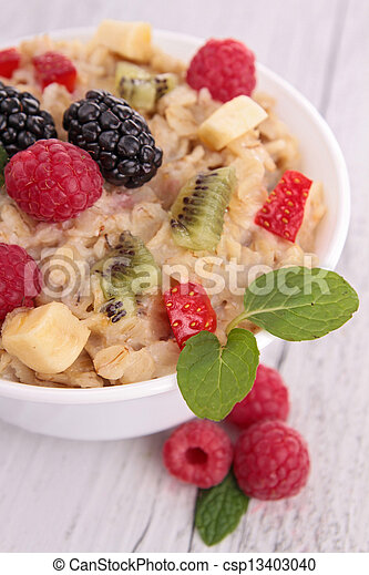 oatmeal with berries - csp13403040